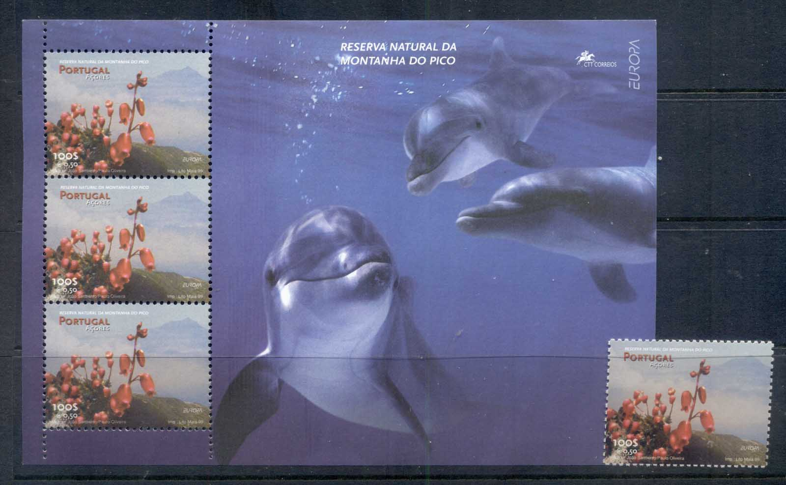 Azores 1999 Europa, National Park, Flowers, Dolphin + MS MUH