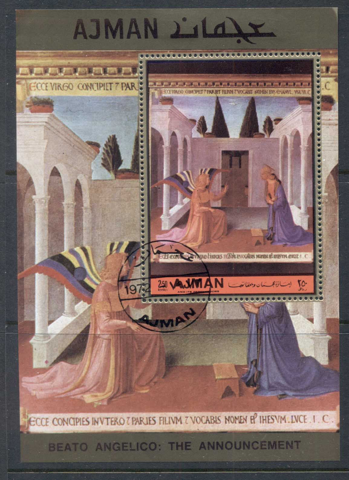 Ajman 1972 Mi#MS474a Annunciation by Fra Angelico MS CTO
