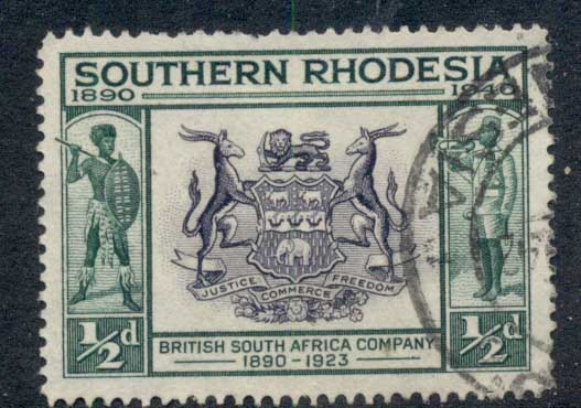 Southern Rhodesia 1940 Seal of British South Africa Co 0.5d FU