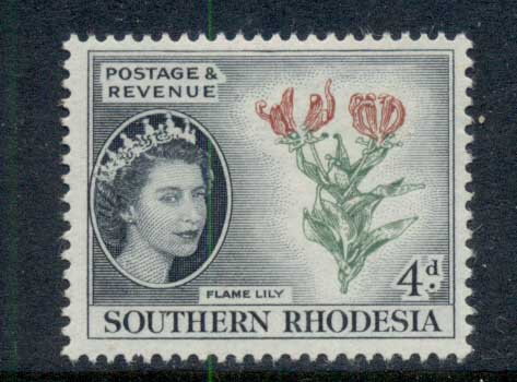 Southern Rhodesia 1953 QEII Pictorial Flame Lily 4d MLH