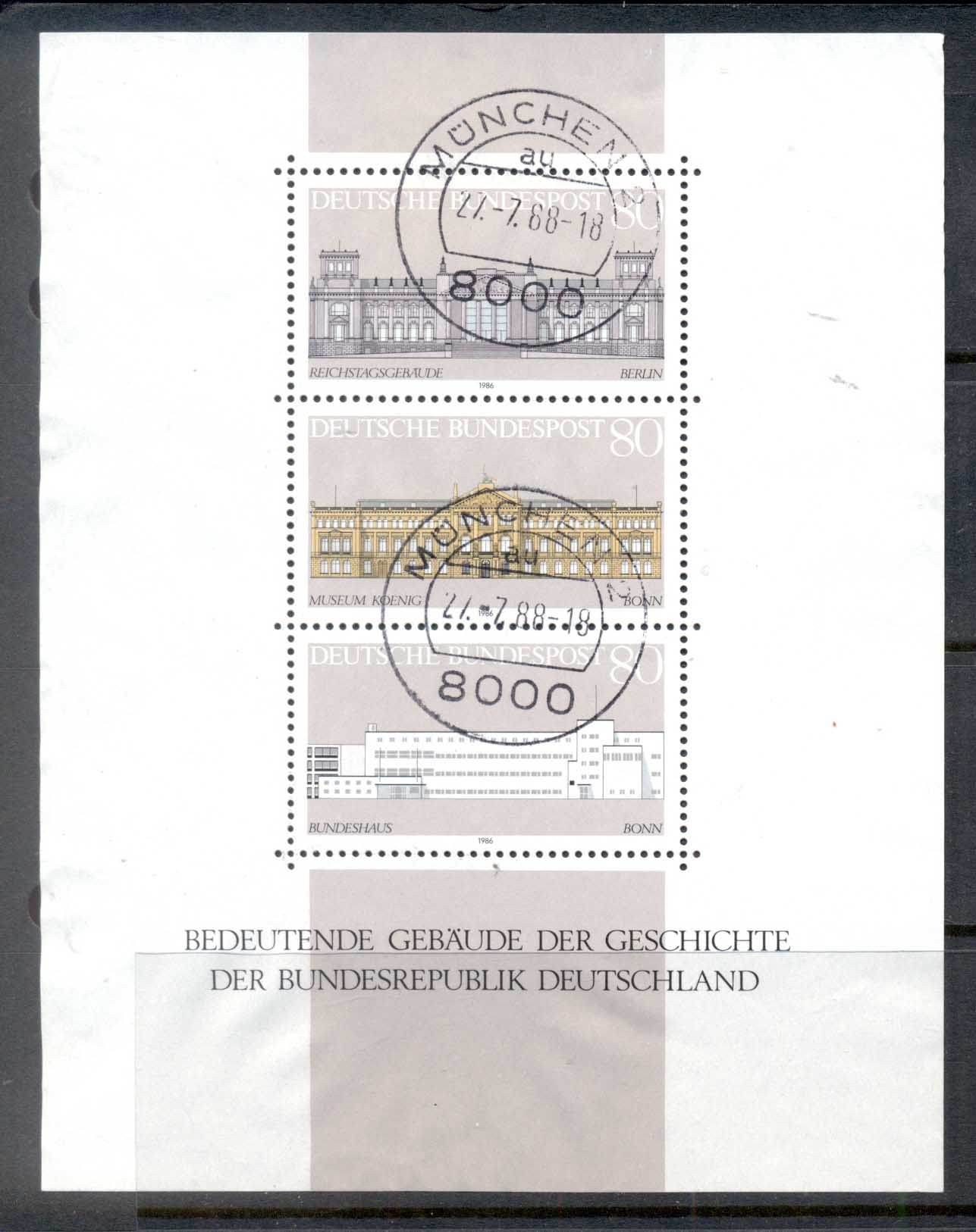 Germany 1986 Historic Buildings MS CTO