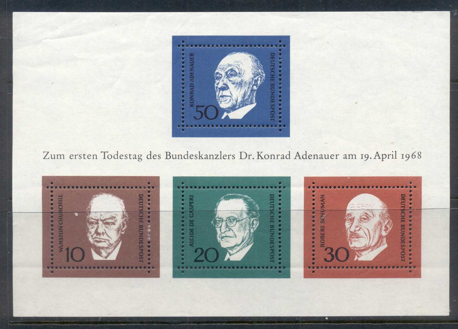 Germany 1968 Konrad Adenauer MS MUH