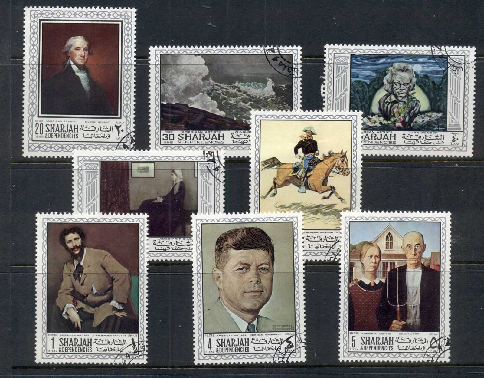 Sharjah 1968 MI#448-455 American Paintings CTO