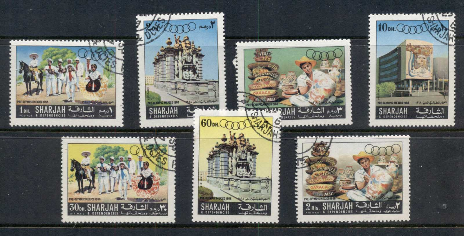 Sharjah 1967 Mi#356-362 Summer Olympics Mexico City CTO