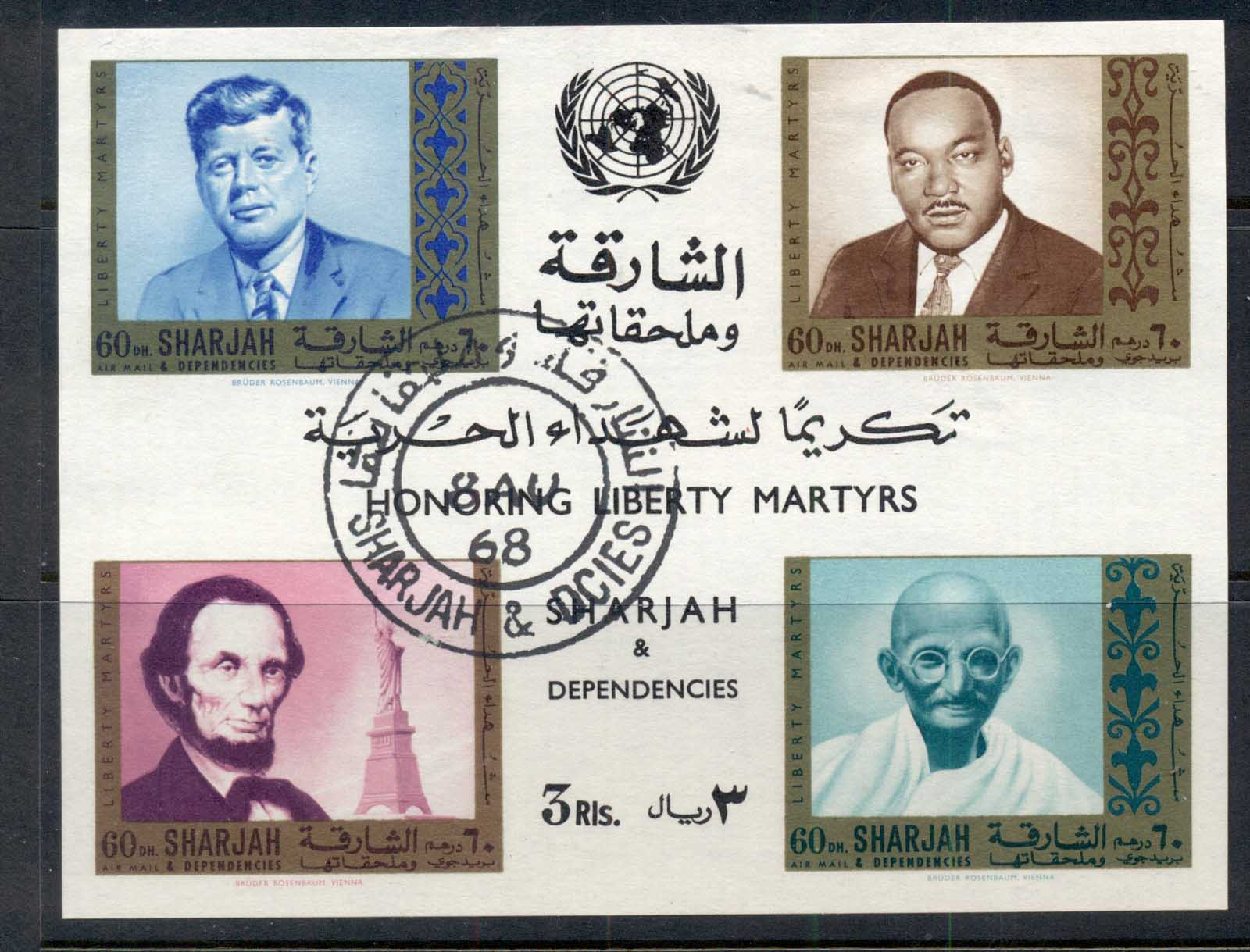 Sharjah 1968 Mi#MS38 Martyrs for Liberty MS CTO