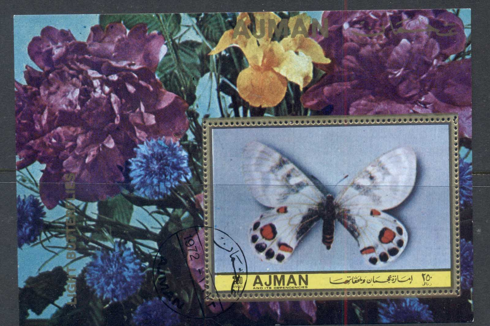 Ajman 1972 Mi#MS493a Light Butterflies MS CTO