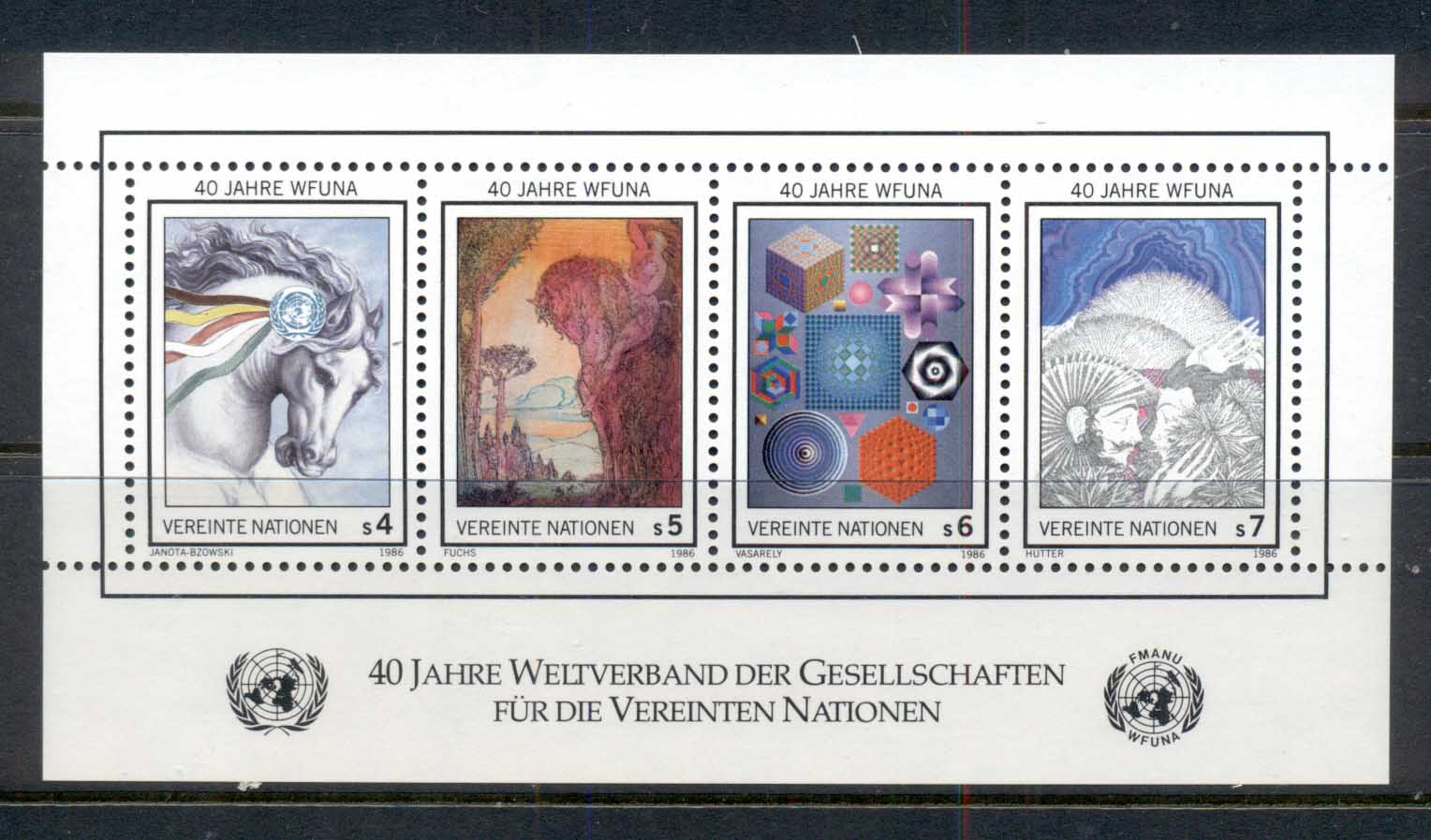 UN Vienna 1986 WFUNA 40th Anniv. MS MUH