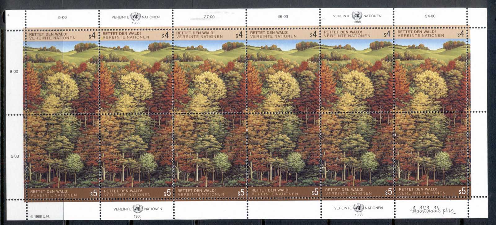 UN Vienna 1987 Survival of the Forests sheet MUH