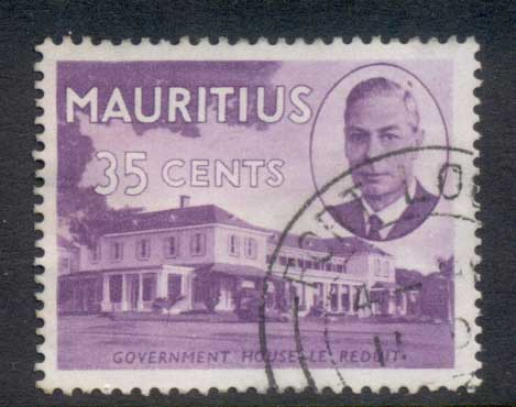 Mauritius 1950 KGVI Pictorial Government House 35c FU
