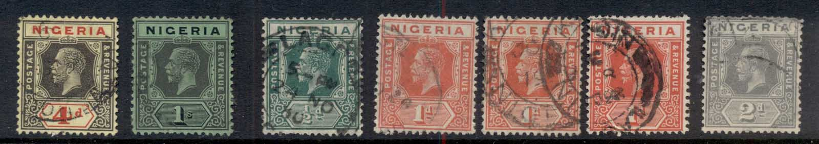 Nigeria 1914 on Asst KGV keyplates FU
