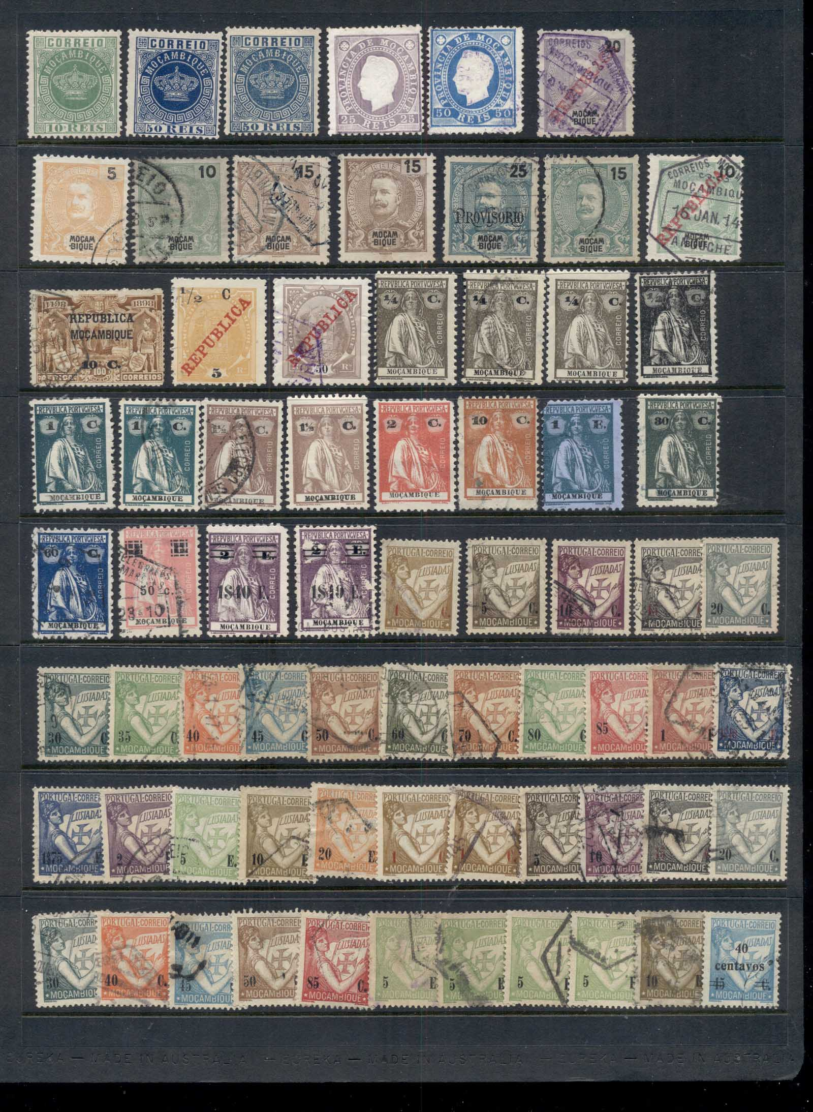 Africa Mozambique 1870's on Portugese Colony & Company Assorted oddments, Mint & Used 9 scans