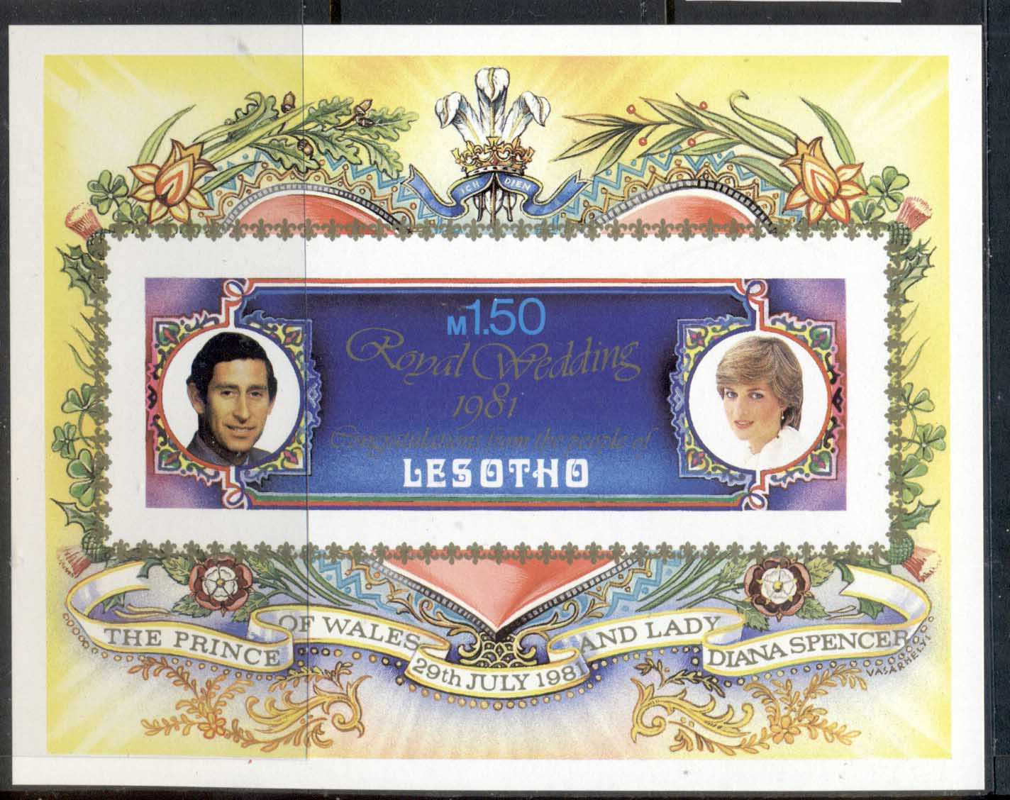 Lesotho 1981 Royal Wedding Charles & Diana MS IMPERF MUH