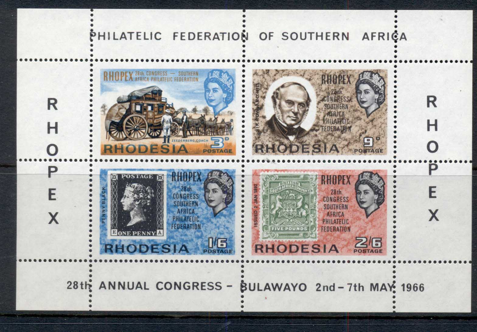 Rhodesia 1966 Philatelic Federation MS MLH