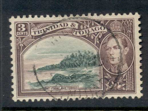 Trinidad & Tobago 1938-41 KGVI Pictorials 3c Mt Irvine, violet brown & blue green FU