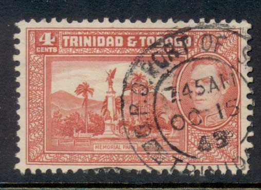 Trinidad & Tobago 1938-41 KGVI Pictorials 4c Memorial Park red FU