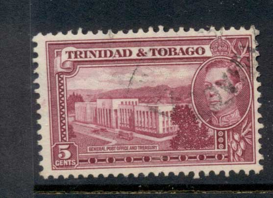 Trinidad & Tobago 1938-41 KGVI Pictorials 5c Post Office & Treasury FU