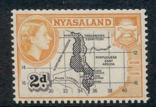 Nyasaland 1953 QEII Pictorial 2d Map Perf 12x12.5 MLH
