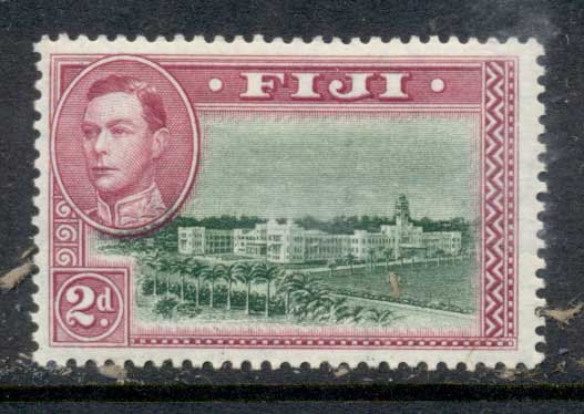 Fiji 1938-55 KGVI Pictorial 2d Government Buildings Perf 13.5 MLH