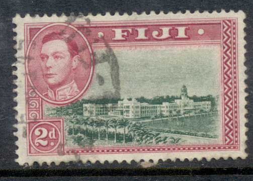 Fiji 1938-55 KGVI Pictorial 2d Government Buildings Perf 13.5 FU