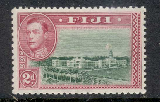 Fiji 1938-55 KGVI Pictorial 2d Government Buildings Perf 12 MLH