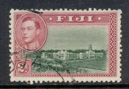 Fiji 1938-55 KGVI Pictorial 2d Government Buildings Perf 12 FU