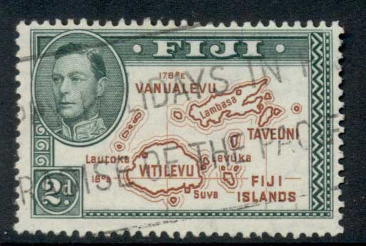 Fiji 1938-55 KGVI Pictorial 2d Map Perf 13.5 FU