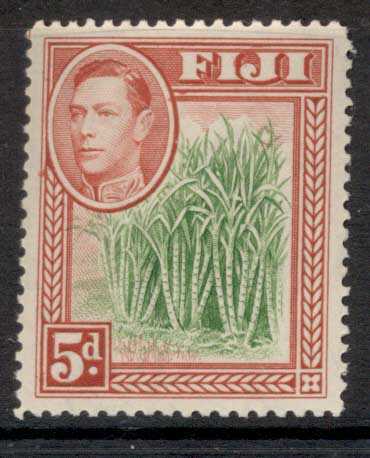 Fiji 1938-55 KGVI Pictorial 5d Sugar Cane rose red & green MUH