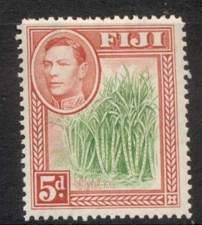 Fiji 1938-55 KGVI Pictorial 5d Sugar Cane rose red & green MLH