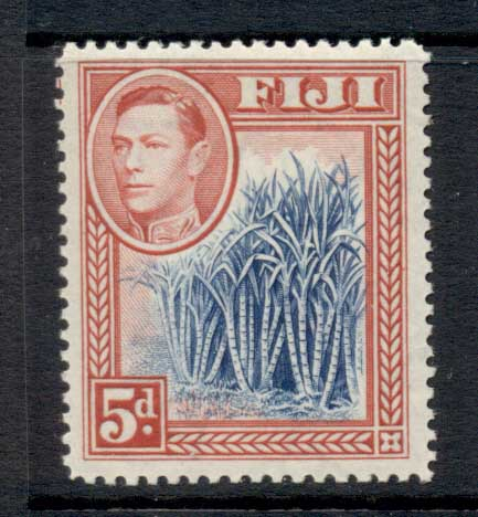 Fiji 1938-55 KGVI Pictorial 5d Sugar Cane rose red & blue MUH