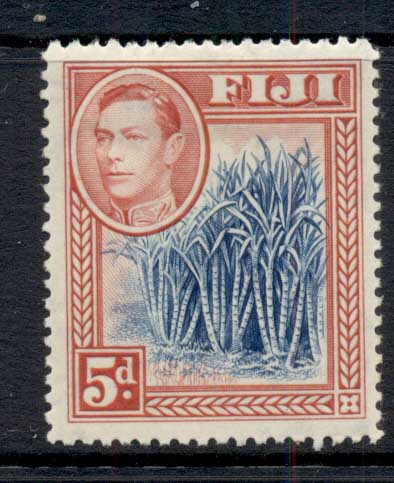 Fiji 1938-55 KGVI Pictorial 5d Sugar Cane rose red & blue MLH