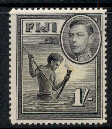 Fiji 1938-55 KGVI Pictorial 1/- Spearfishing at Night MLH