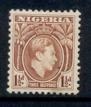 Nigeria 1938-51 KGVI Pictorial 1.5d KGVI Portrait red brown Perf 12 MLH