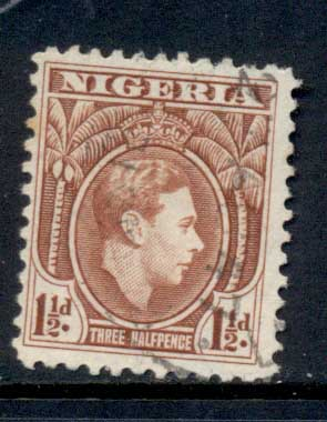 Nigeria 1938-51 KGVI Pictorial 1.5d KGVI Portrait red brown Perf 12 FU