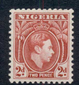 Nigeria 1944 KGVI Pictorial 2d KGVI Portrait deep red Perf 12 MLH