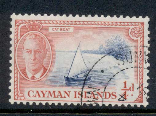 Cayman Is 1950 KGVI Pictorial 0.25d Cat Boat FU