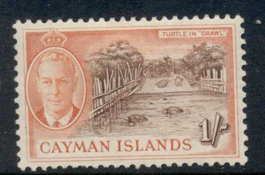 Cayman Is 1950 KGVI Pictorial 1/- Turtle Crawl MLH