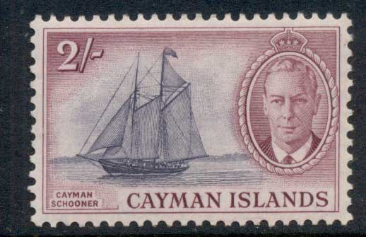 Cayman Is 1950 KGVI Pictorial 2/- Cayman Schooner MLH