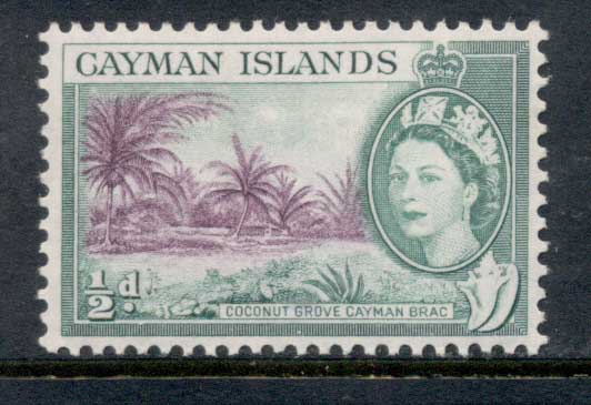 Cayman Is 1953-59 QEII Pictorial 0.5d Coconut Grove Cayman Brac MLH