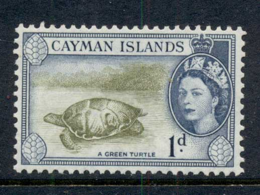Cayman Is 1953-59 QEII Pictorial 1d Green Turtle MUH
