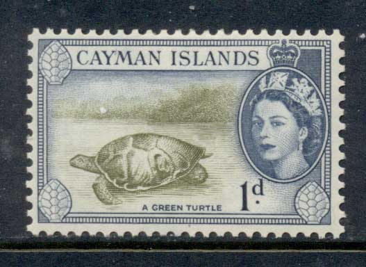 Cayman Is 1953-59 QEII Pictorial 1d Green Turtle MLH
