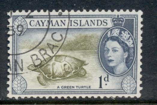 Cayman Is 1953-59 QEII Pictorial 1d Green Turtle FU