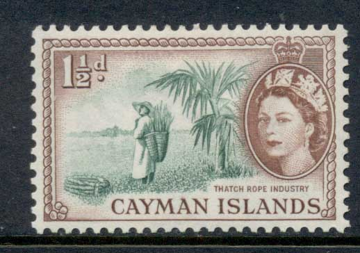 Cayman Is 1953-59 QEII Pictorial 1.5d Thatch Rope Industry MLH