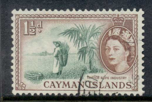 Cayman Is 1953-59 QEII Pictorial 1.5d Thatch Rope Industry FU