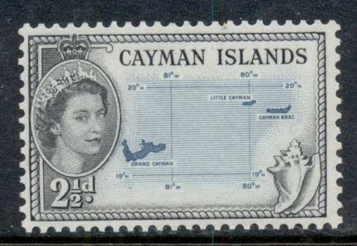 Cayman Is 1953-59 QEII Pictorial 2.5d map MLH