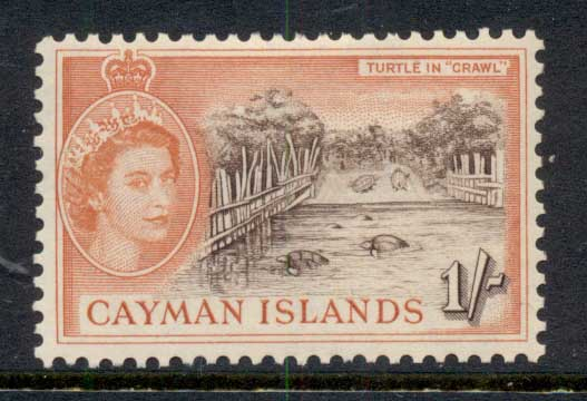 Cayman Is 1953-59 QEII Pictorial 1/- Turtle Crawl MLH