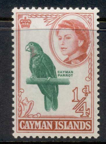 Cayman Is 1962 QEII Pictorial 0.25d Cayman parrot MUH