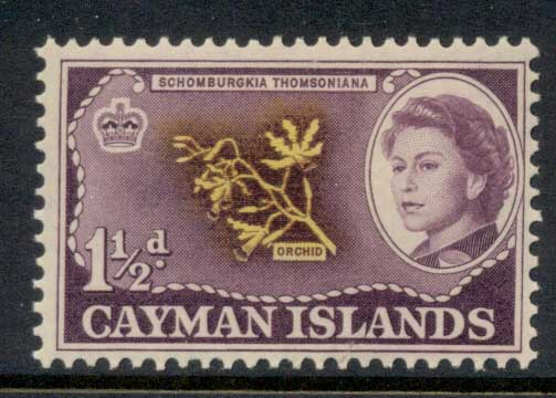 Cayman Is 1962 QEII Pictorial 1.5d Orchid MLH