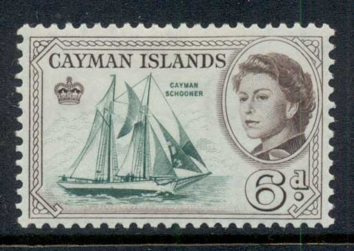 Cayman Is 1962 QEII Pictorial 6d Cayman Schooner MLH