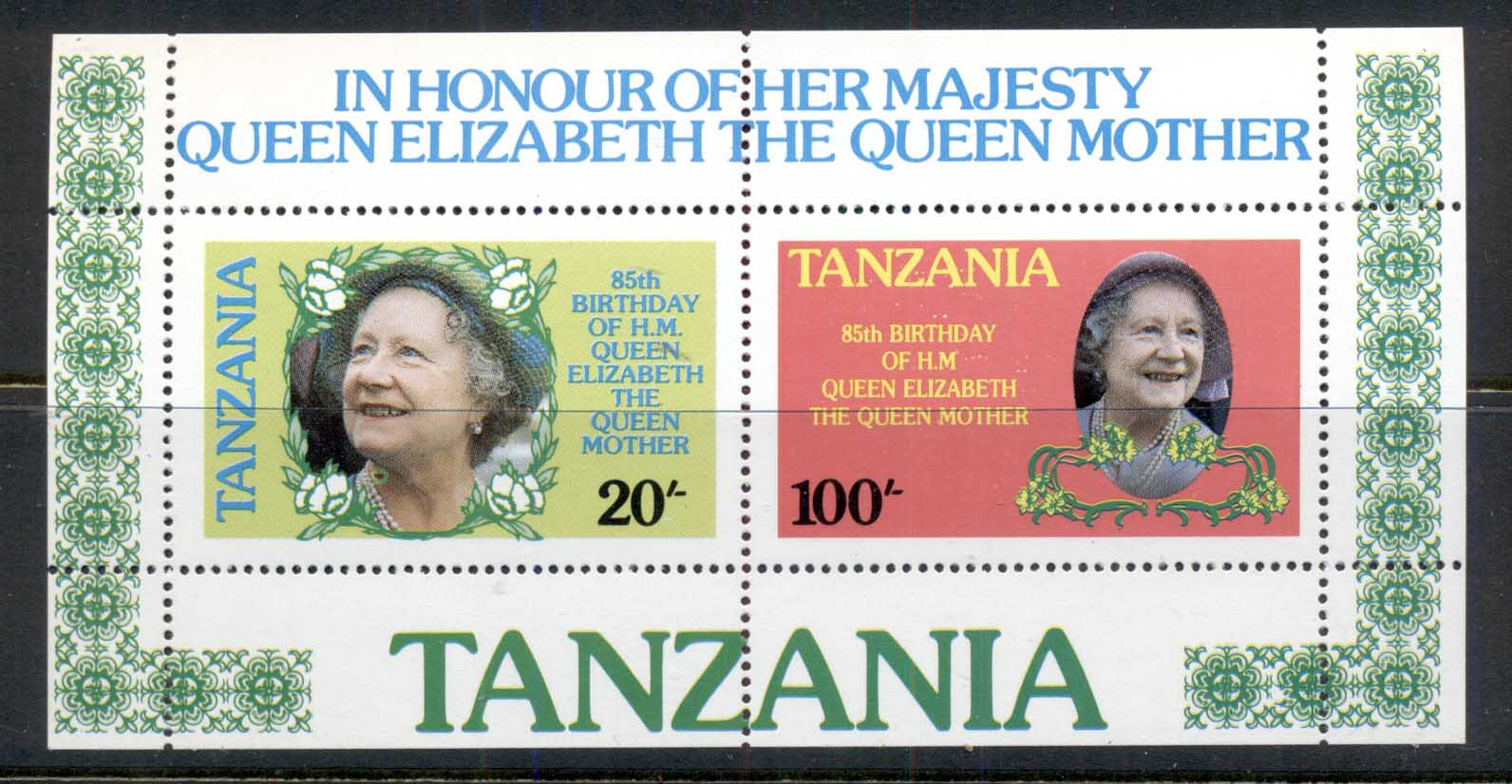 Tanzania 1985 Queen Mother 85th Birthday MS MUH