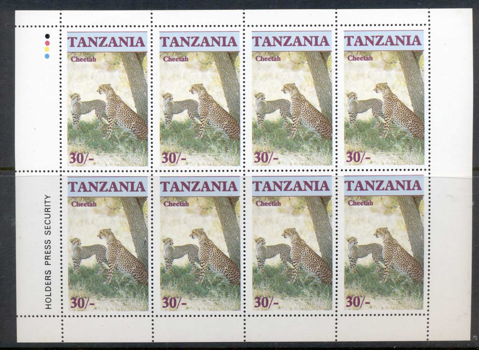 Tanzania 1986 Endangered Wildlife, Cheetah 30/- sheetlet MUH
